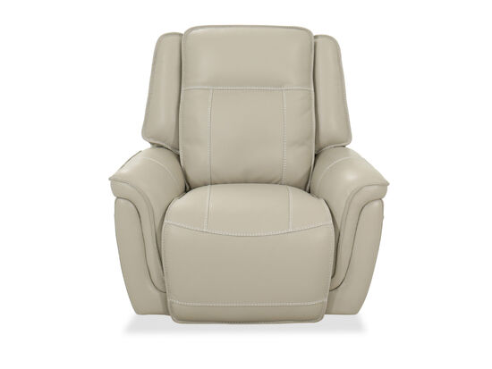 "Leather 41"" Power Glider Recliner in Ivory"