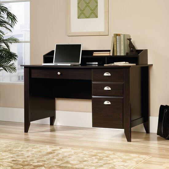 "53"" Transitional Three-Drawer Desk in Jamocha Wood"
