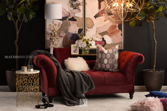 "80"" Button-Tufted Contemporary Settee in Maroon"