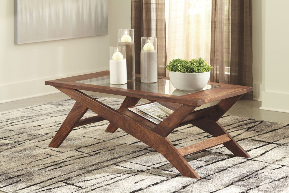 Charzine Warm Brown Rectangular Cocktail Table Mathis Brothers Furniture