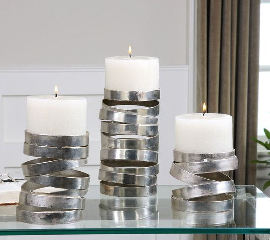Three-Piece Ring Candle Holder Set in Metallic Silver