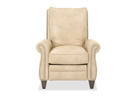 "Leather 34"" Pressback Recliner in Beige"