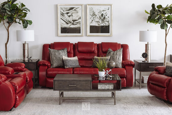 "87"" Reclining Sofa in Red"