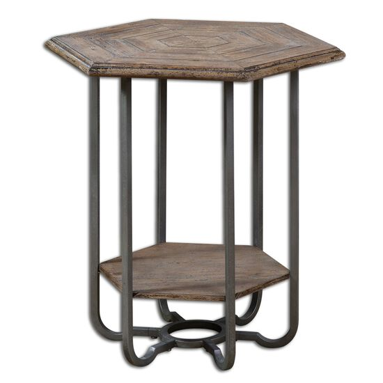 Hexagon Accent Table in Light Tan