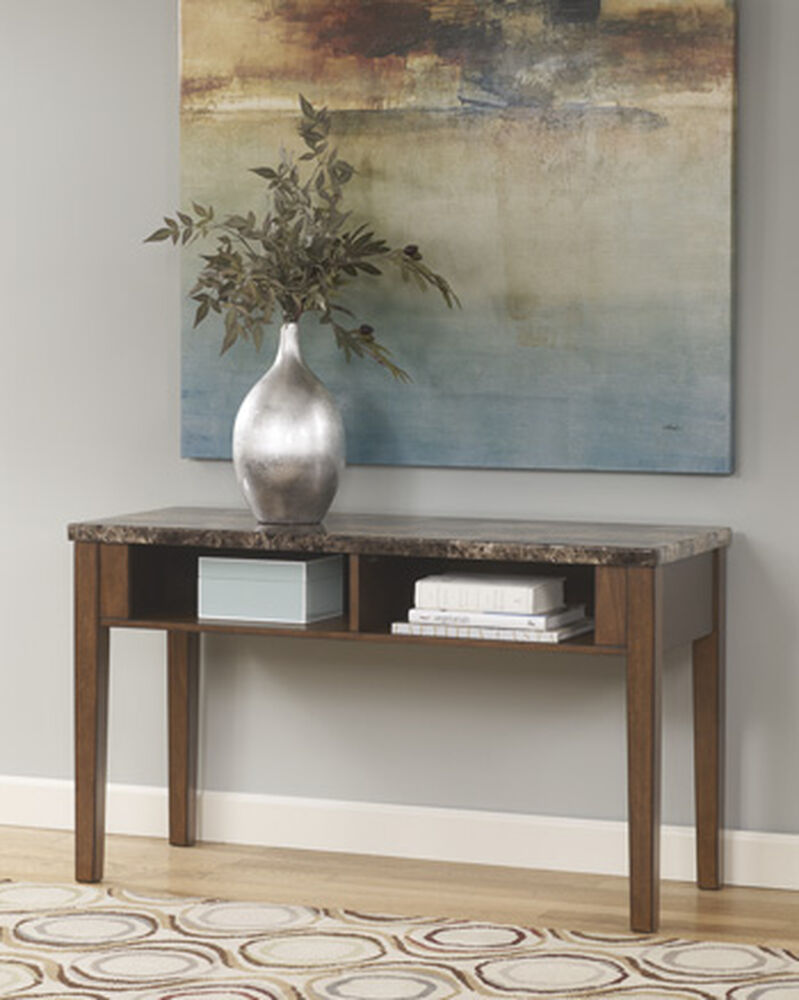 twoopen shelf contemporary console sofa table in warm