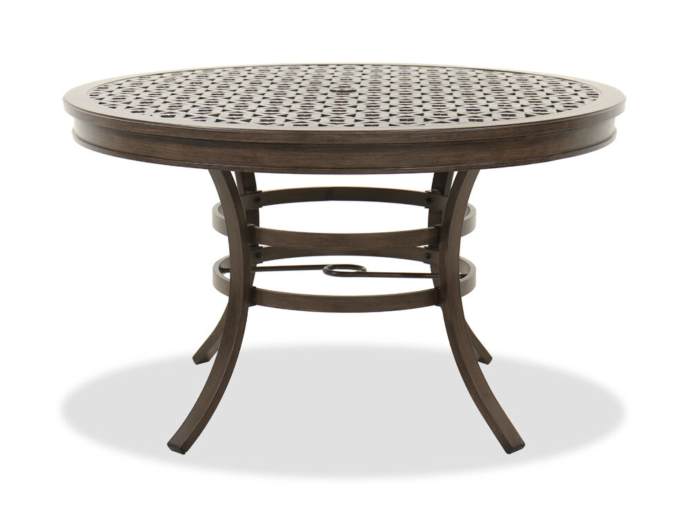 Round Aluminum Patio Dining Table in Brown