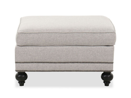 "Nailhead-Accented 31"" Contemporary Ottoman in Gray"