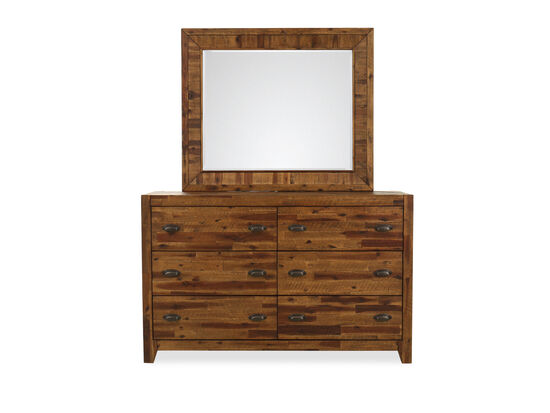 Two-Piece Solid Acacia Planked Dresser and Mirror in Brown
