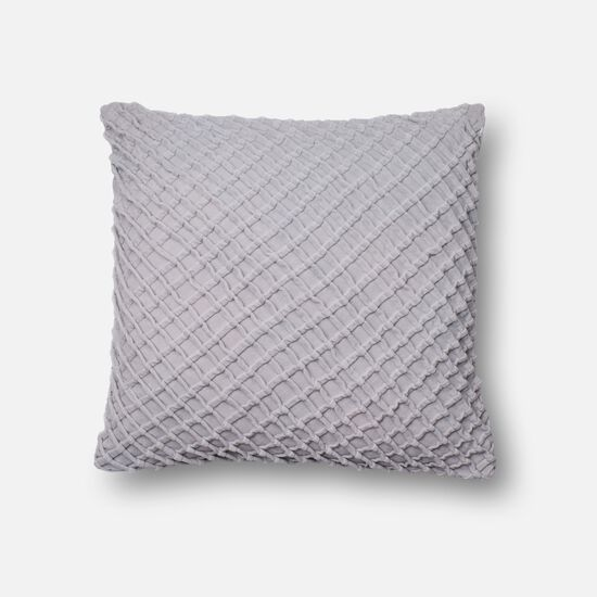 "Contemporary 22""x22"" Cover w/Down Pillow in Grey"