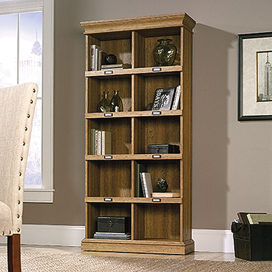 Transitional Tall Bookcase in Scribed Oak | Mathis ...