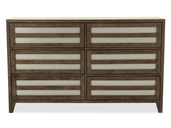 Modern Lattice Six-Drawer Dresser in Driftwood Grey