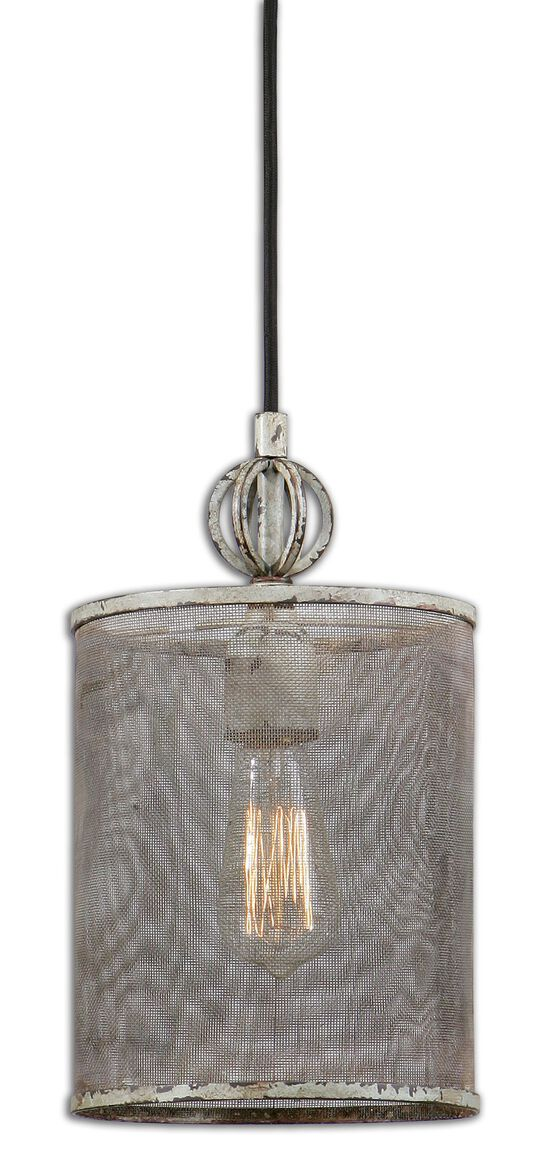 Mini Screen Shade Pendant Light in Distressed Antique Ivory