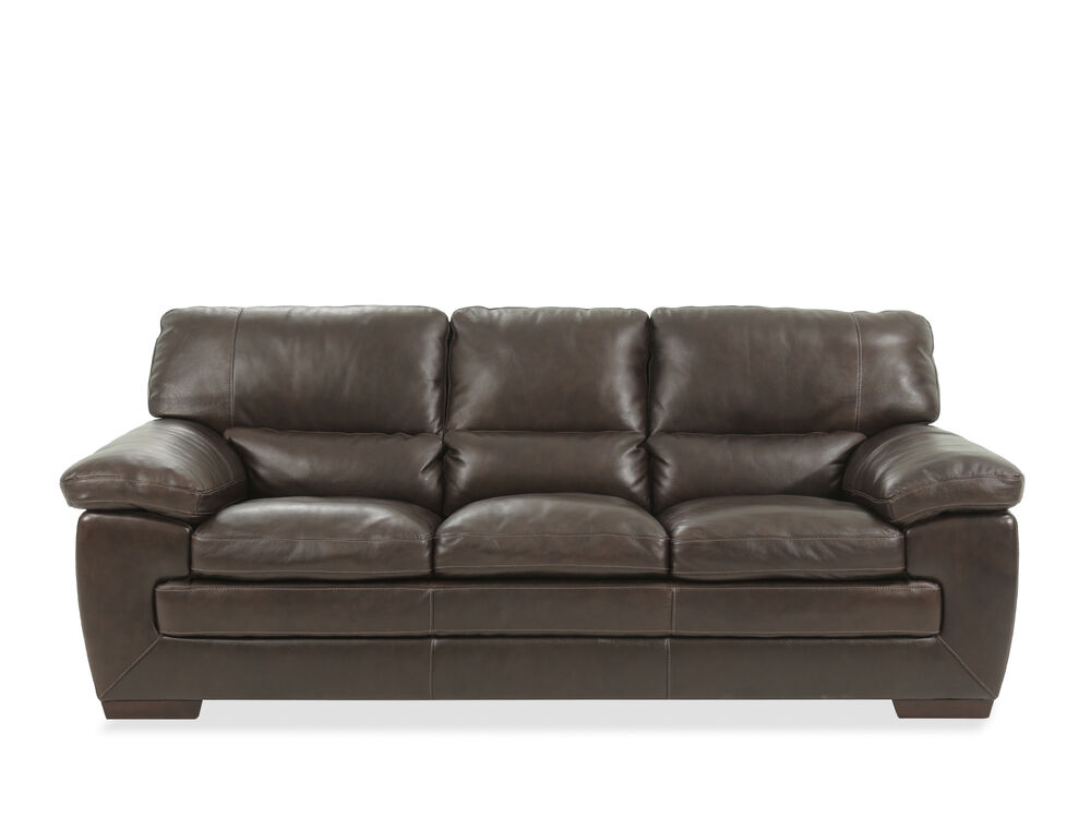 "87"" Leather Sofa in Dark Brown"