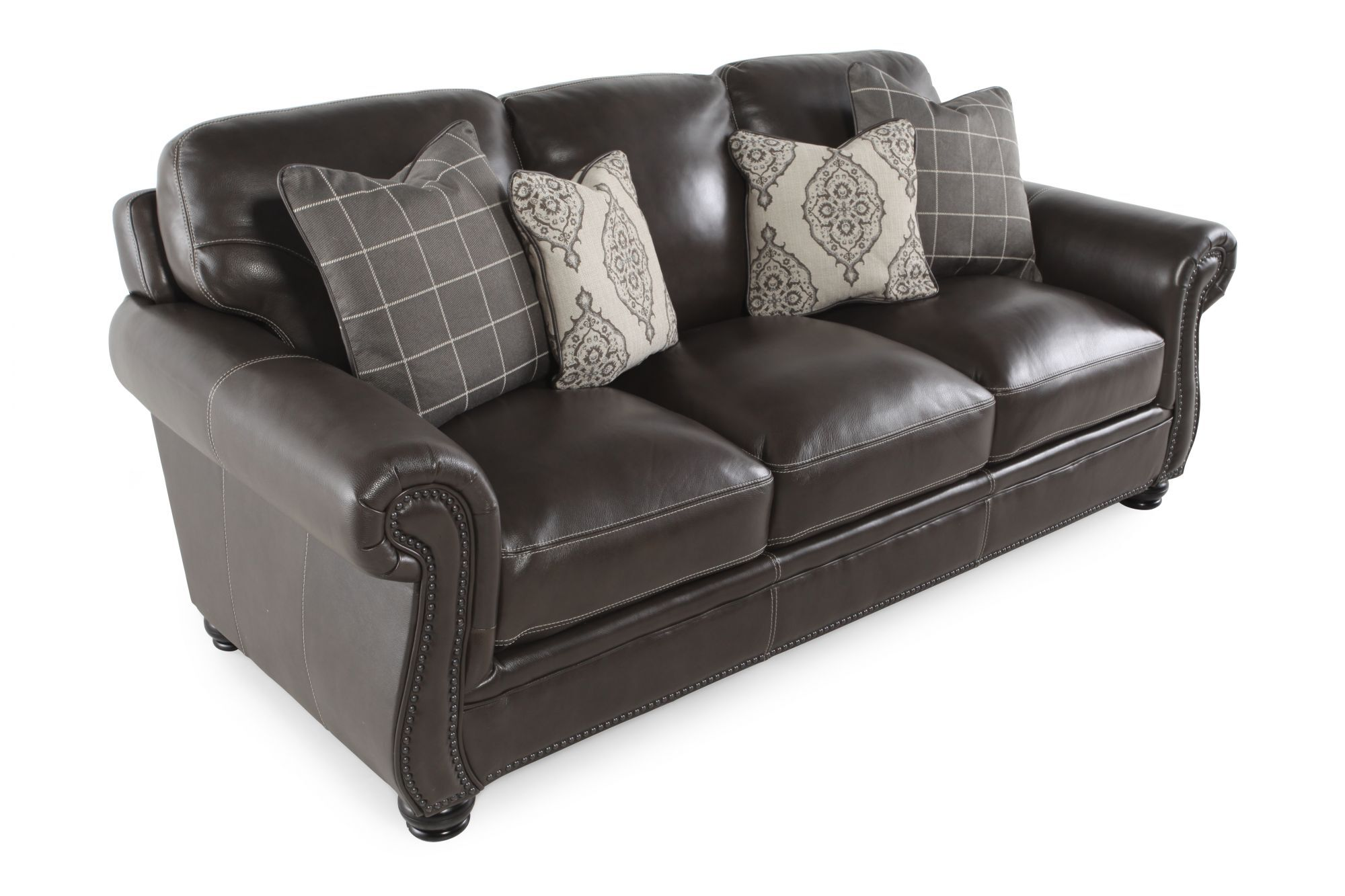 Leather Nailhead Accented 87 Sofa In Dark