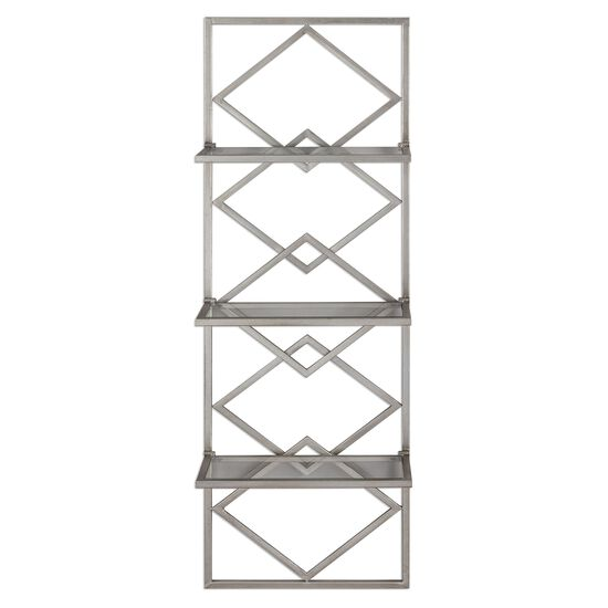 Three-Shelf Iron Wall Storage in Silver Leaf