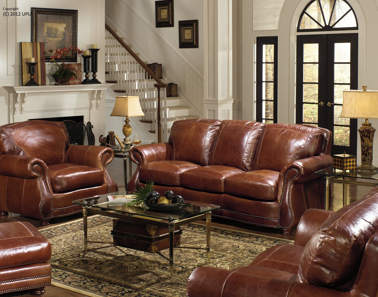 Leather Rolled Arm 88 Sofa In Brandy Mathis Brothers