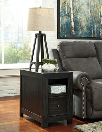 Rectangular Casual End Table in Rubbed Black