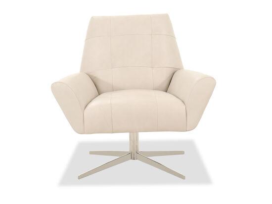"""37"""" Leather Swivel Chair in Beige"""
