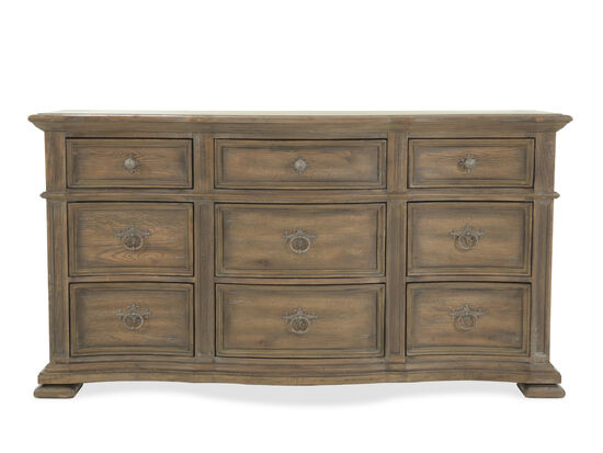 "39"" Traditional Nine-Drawer Dresser in Brown"