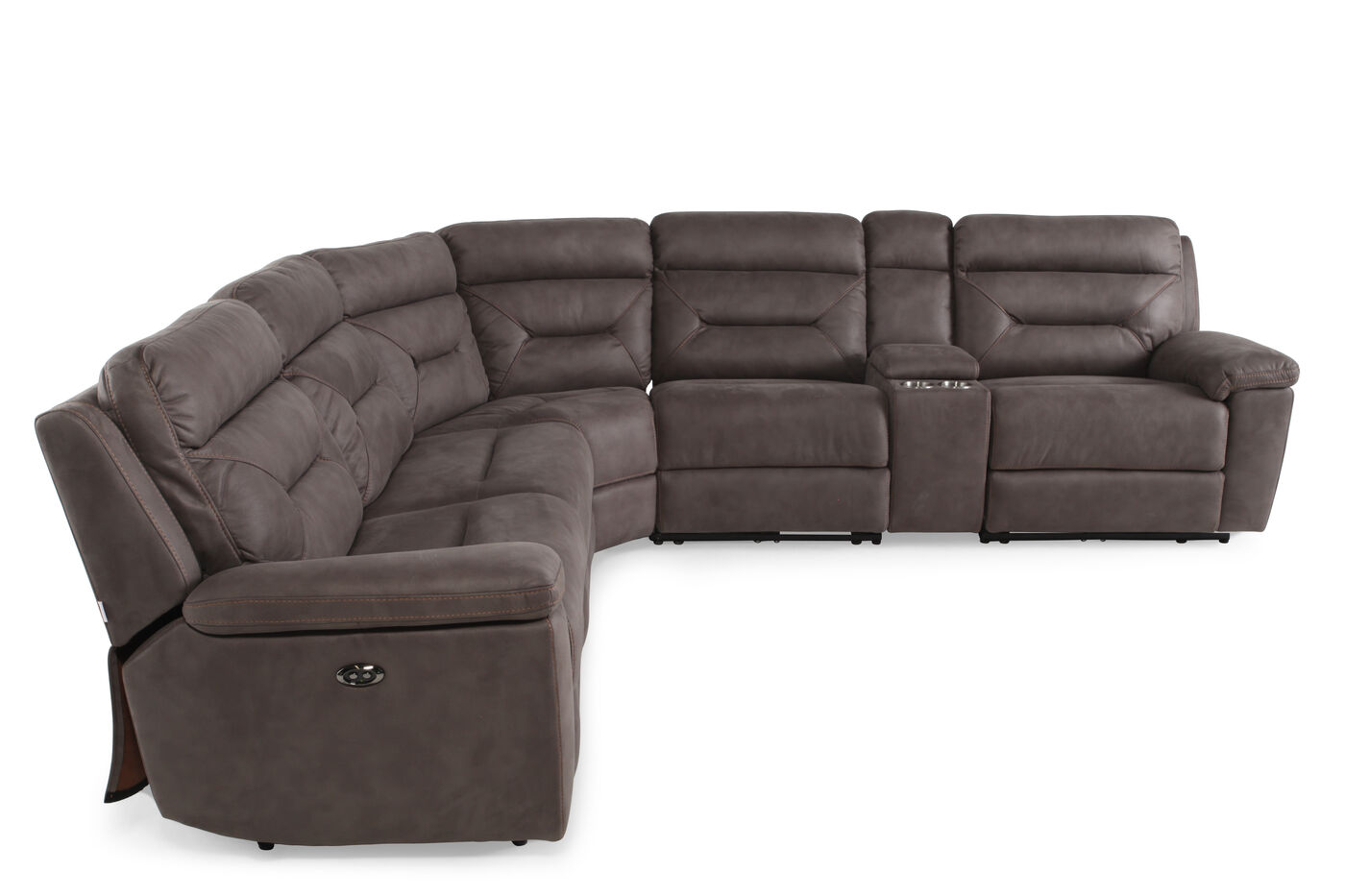 Six Piece Microfiber 168 Power Reclining Sectional In Gray  ~ Red Reclining Sectional Sofa