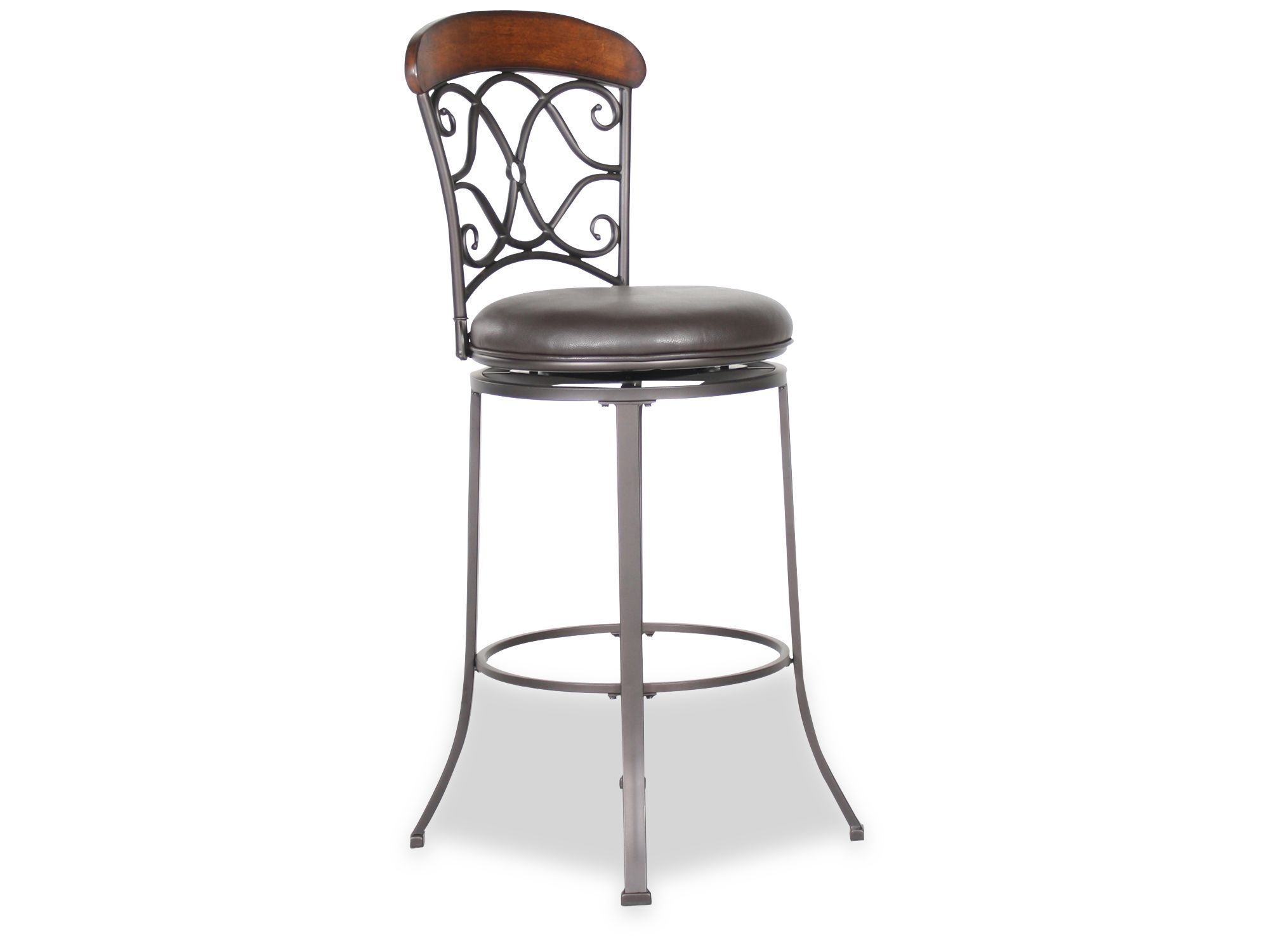 Transitional 45 5 Quot Swivel Bar Stool In Dark Gray Mathis