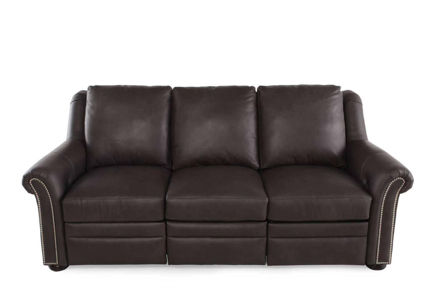 Nailhead Accented Leather Reclining Sofa In Brown Mathis