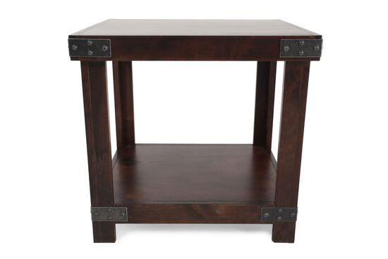 Square Nailhead Accented End Table in Fruitwood