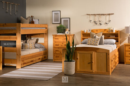 Traditional Youth Twin Bunk Bed in Cinnamon
