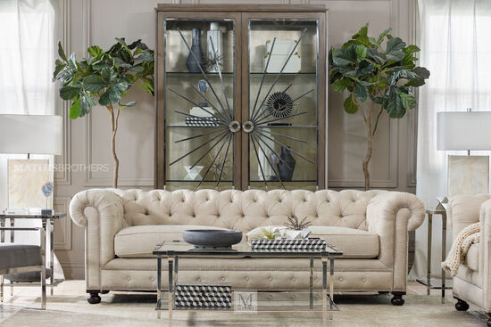 Low Profile Tufted Silver Nailhead Trimmed Sofa