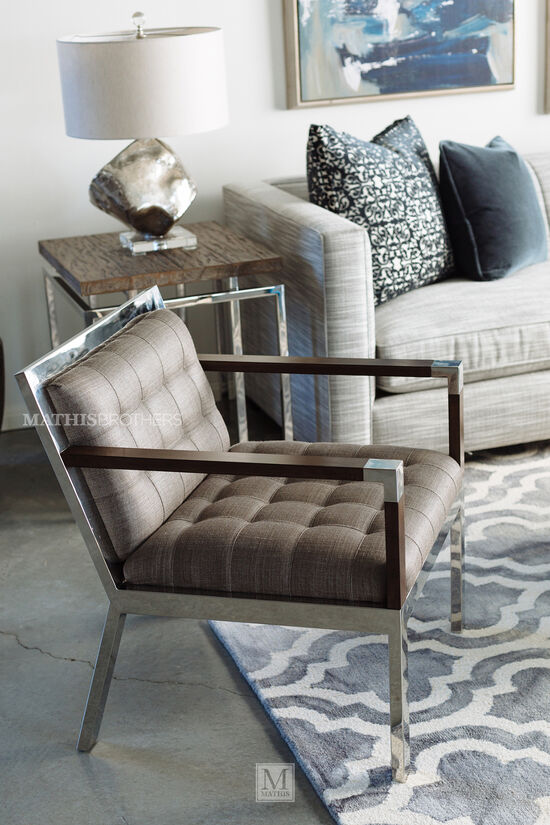 Square Contemporary Side Table in Gray Pearl