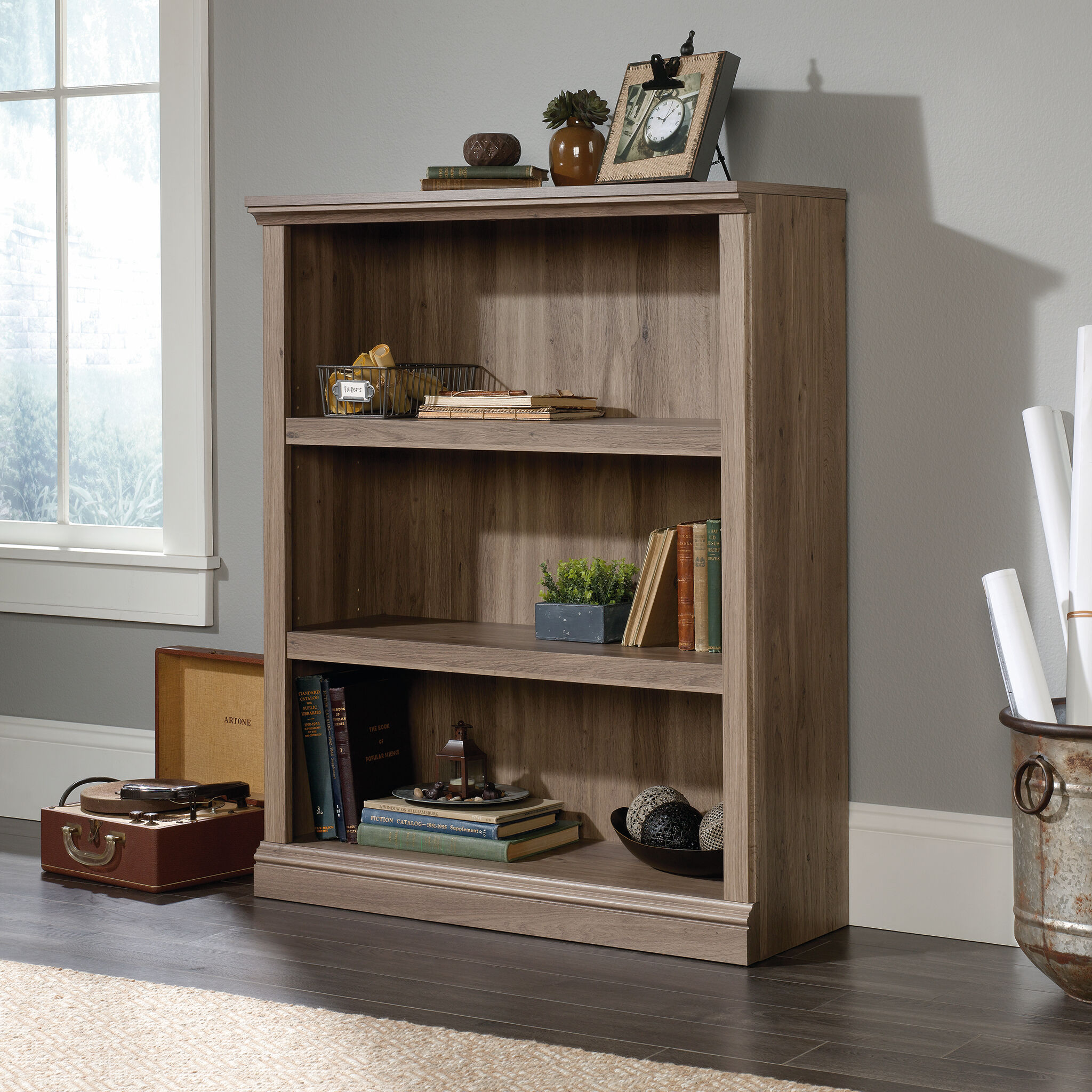 Contemporary Adjustable Shelf Open Bookcase In Salt Oak ...