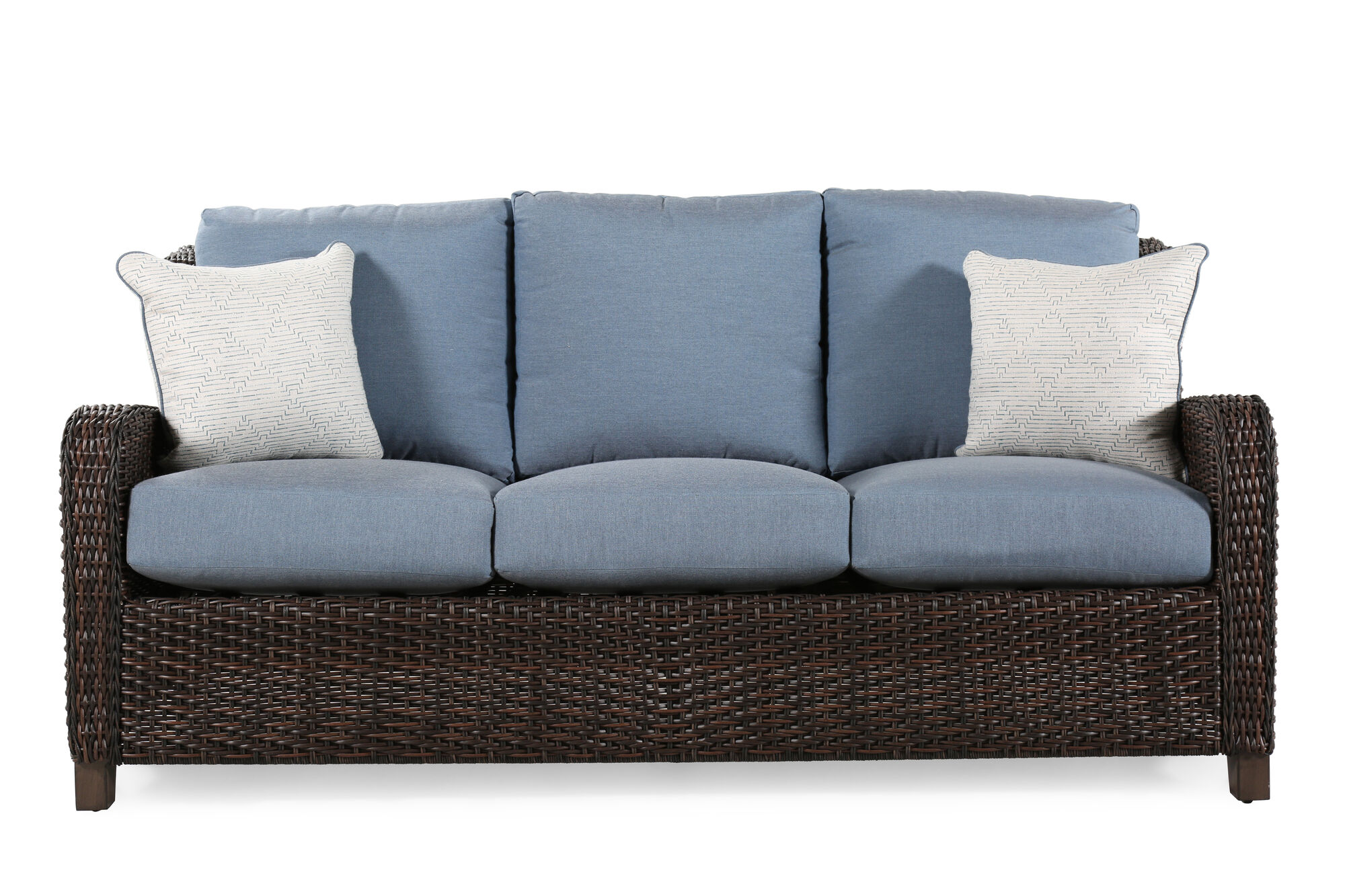 Water Resistant Contemporary Sofa In Slate Blue Mathis Brothers Furniture