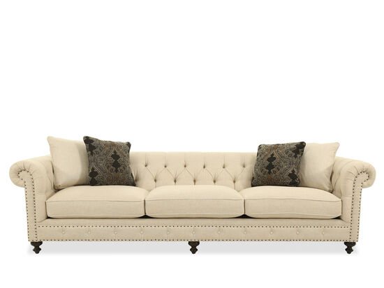 """Button-Tufted 116.5"""" Rolled Arm Sofa in White"""