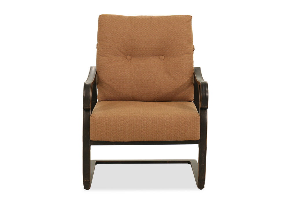 Textured Aluminum Club Spring Chair in Brown