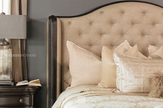 Refined Romantic Luxury Button Tufted Bed in Beige