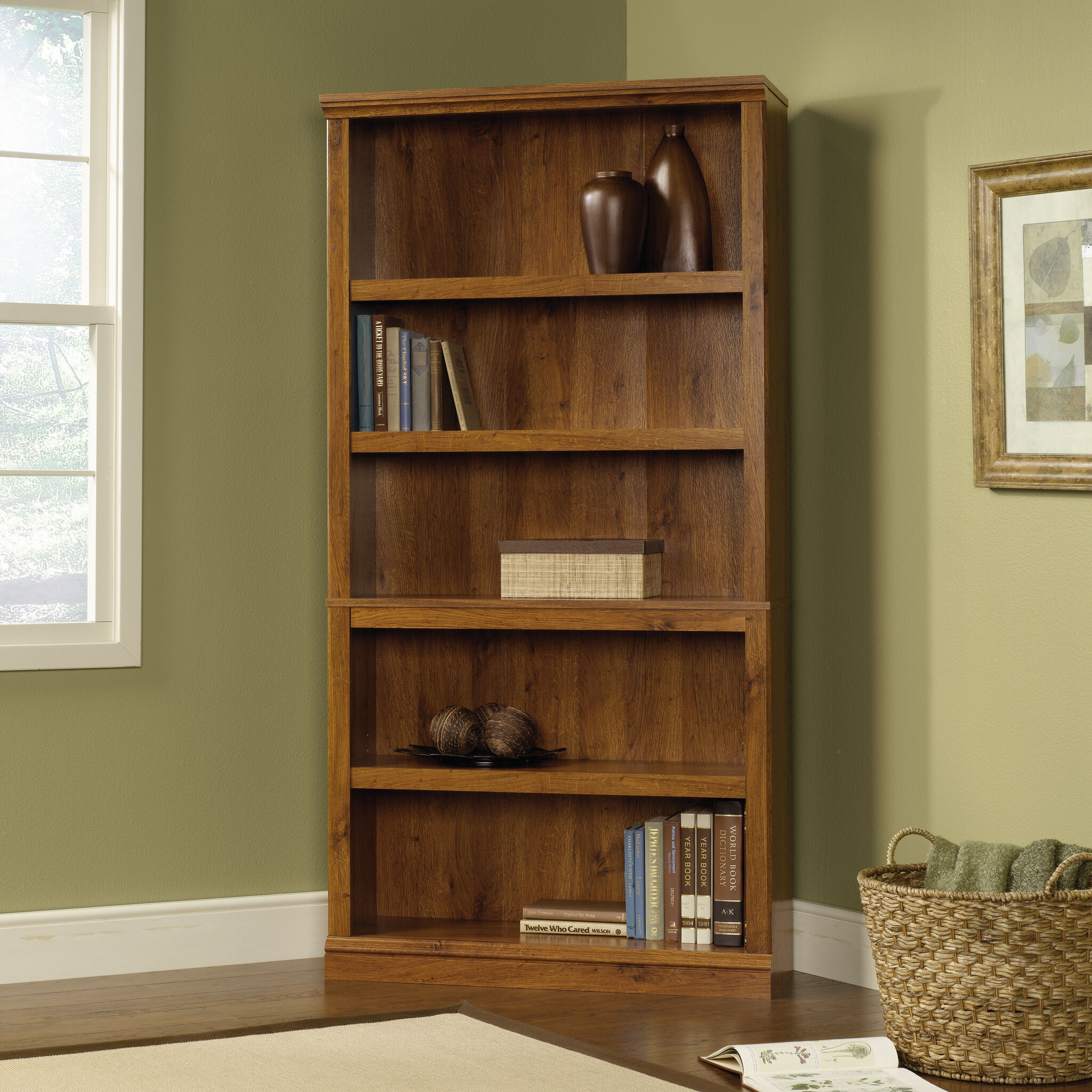 Images Transitional Adjustable Shelf Bookcase In Abbey Oak