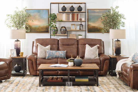 Nailhead-Accented Leather Power Reclining Loveseat in Brown