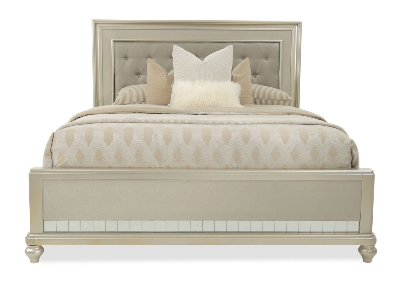 66 Quot Transitional Button Tufted Panel Bed In Brown Mathis