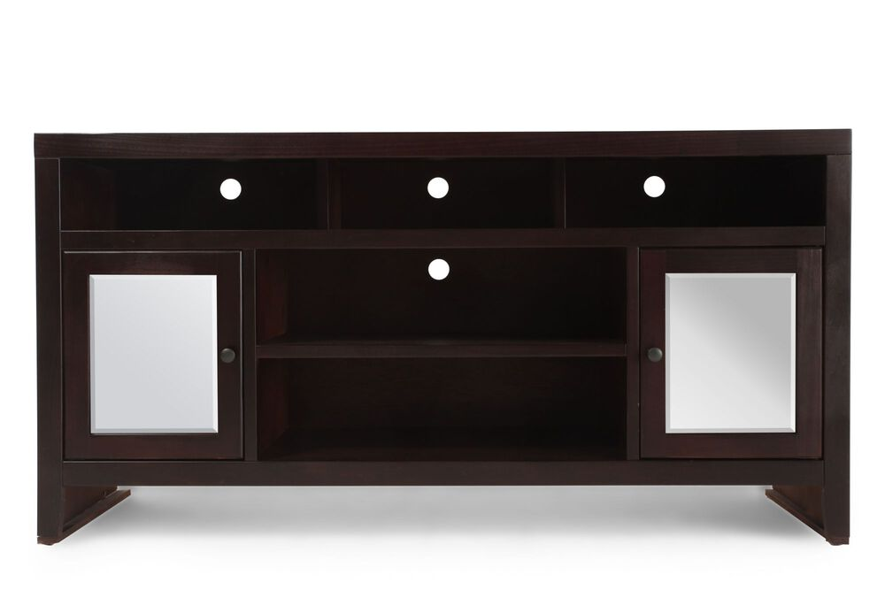 Two-Glass Door Casual Console in Dark Cherry