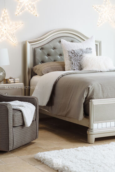Button Tufted Youth Leather Arch Panel Bed In Cream