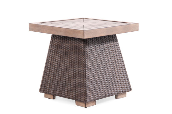 Woven Contemporary Square End Table in Medium Brown