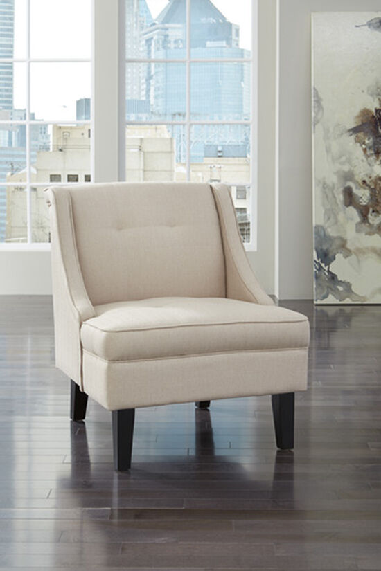 """Tufted Contemporary 28"""" Accent Chair in Cream"""