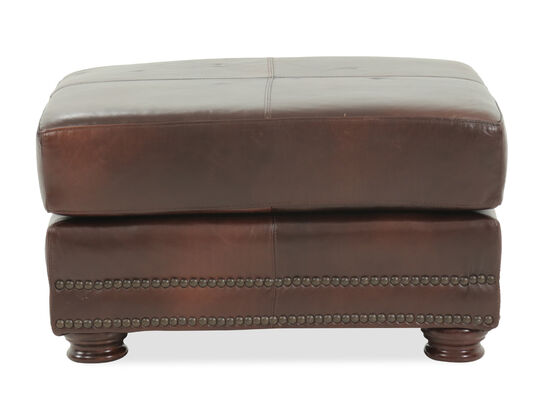 "Nailhead Accented Traditional 26"" Leather Ottoman in Brown"