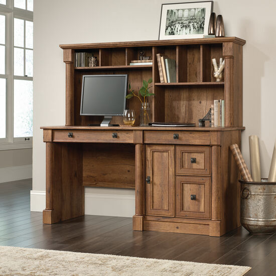 "59.5"" Contemporary Computer Desk with Hutch in Oak"