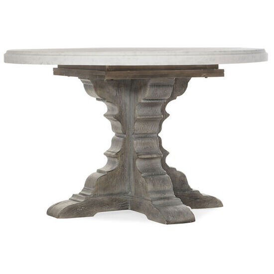 """Beaumont Round Dining Table With 48"""" Marble Top in Gray"""