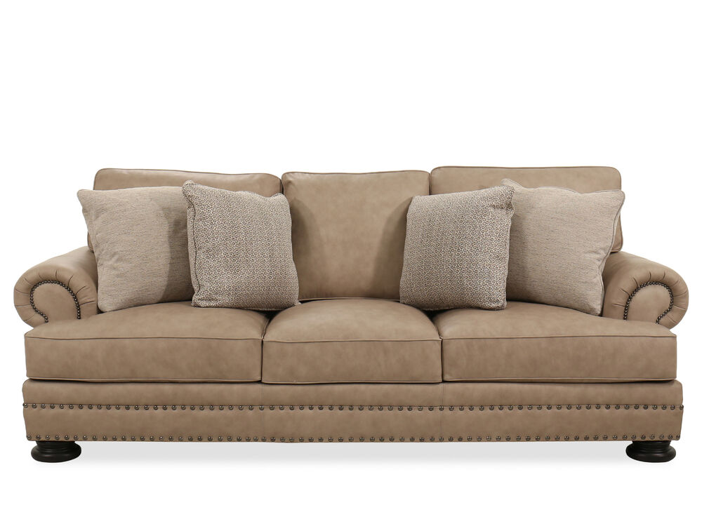 98 Quot Leather Contemporary Nailhead Accented Sofa In Tan