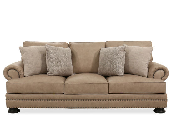 """98"""" Leather Contemporary Nailhead-Accented Sofa in Beige"""