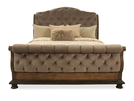 "72"" Traditional Tufted King Sleigh Bed in Walnut"