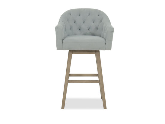 """Nailhead Accented 42"""" Tufted Bar Stool in Powder Blue"""