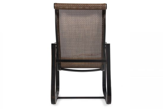 Roll Arm Transitional Sling Dining Chair in Brown